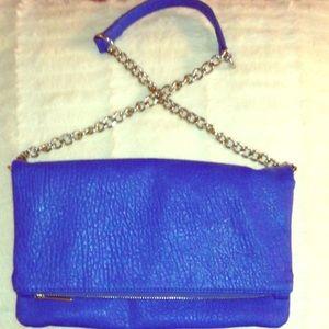 Blue Faux Leather Shoulder Bag